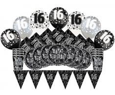 Unique Party 83121 - Kit Festa di 16° Compleanno Nero Brillante per 8