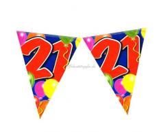 Folat Festone con bandierine per 21° Compleanno, 10 m