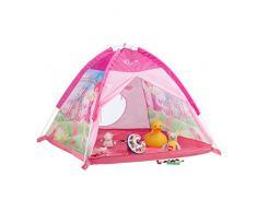 Relaxdays 10022454 Tenda Gioco per Bambini Castello Fate per Bambine Casetta Bimbi da Interni & Esterni HLP 90x118x115 cm Fucsia