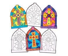 Baker Ross Decorazioni per finestre da colorare a tema crocifisso (confezione da 12) - Creazioni pasquali per bambini, da decorare ed esporre