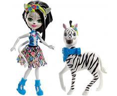 Enchantimals- Zelena la Zebra, Bambola e Cucciolo Cavalcabile, Multicolore, FKY75