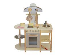 Liberty House Toys - Cucina giocattolo in legno, con accessori, dimensioni 87 x 40 x 102 cm, colore: Grigio