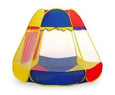 BAKAJI Tenda da Gioco Pop Up Casetta Esagonale per Bambini, 120 x 150 cm, Multicolore, 8034048319567