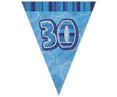 Unique Party 92083 - 2,7 m Foil Blu Brillante Bandierine di 30° Compleanno