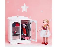 Guardaroba contenitore legno arredamento bambole 45 cm Olivias World TD-0210A, Modelli/Colori Assortiti, 1 Pezzo