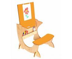 Little Helper TC/asi01 – 15 G – 4 in 1 Legno Art Station per bambini scrivania con lavagna e cavalletto, colore: arancione/naturale
