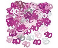 Shatchi CONFETTI-40TH-PINK-2PK-11763-2 confezioni di coriandoli rosa per 40° compleanno, decorazioni da tavolo per feste, 14 g