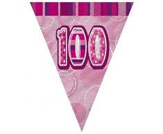 Unique Party 90960 - 2,7 m Foil Rosa Brillante Bandierine di 100° Compleanno