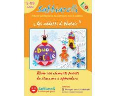 Sabbiarelli Sand-it for Fun - Album Gli Addobbi di Natale: 5 Fogli Adesivi da Colorare con la Sabbia (Non Inclusa), Adatto per Bambini Anni 5+