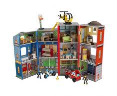Kidkraft 63239 Set di Gioco in Legno per Bambini Everyday Heroes con Poliziotto, Elicottero e Pompiere - 35 Pezzi Inclusi