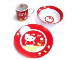 Ciao Kitty - disegno del giardino Set colazione in porcellana, rosso (United Labels 811.287)