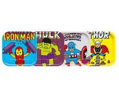 Marvel Avengers- Piatti di Carta Quadrati, 4 Pezzi, Verde, 78410
