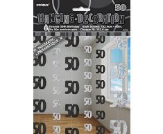 Unique Party 55346 - 1.5 m Decorazioni da Appendere per 50° Compleanno Nero Brillante, Confezione da 6