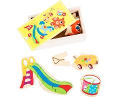 Small Foot 10550 Scatola con Puzzle per Creare e Formare 5 Giocattoli in Legno