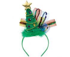 Amscan - Cerchietto Per Capelli Con Albero Di Natale, Colore: Verde