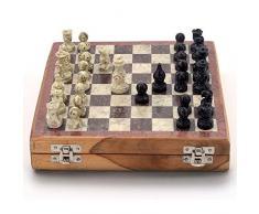 Stylla Londra® Stone Art Unique marmo pietra scacchi e dama set i giochi da tavolo per bambini 7 e Up i viaggi giochi per bambini e adulti scacchiera i i strategia giochi da tavolo i regalo unico