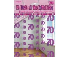 Unique Party 55329 Decorazioni da Appendere per 70° Compleanno, Confezione da 6, Rosa Brillante