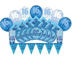 Unique Party 83111 - Kit Festa di 16° Compleanno per 8 Persone, Blu Brillante