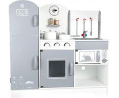 10598 Cucina gioco con frigorifero Moderna small foot in legno, con frigorifero, piano cottura, forno, forno microonde e molto altro ancora, a partire da 3 anni