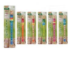 Globo Toys 37114, flauti giocattolo in legno, colori assortiti, 32,5 x 3 x 3 cm, confezione da 6