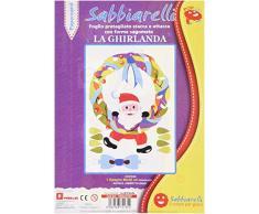 Sabbiarelli Sand-it for Fun - Poster La Ghirlanda: Maxi Disegno Adesivo da Colorare con la Sabbia (Non Inclusa), Adatto per Adulti e Bambini, 26x40cm