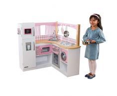 Kidkraft 53185 Cucina Giocattolo Ad Angolo in Legno per Bambini Grand Gourmet con Accessori di Gioco Inclusi - Rosa e Bianco