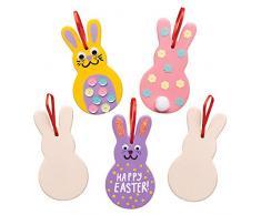 Baker Ross Decorazioni in ceramica a forma di coniglietto (confezione da 5) - Creazioni pasquali per bambini, da decorare e personalizzare