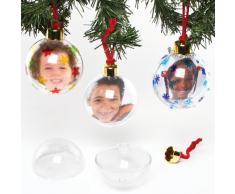 Baker Ross Palline di Natale Portafoto Trasparenti. Da Decorare, Personalizzare ed Esporre (Confezione da 4)