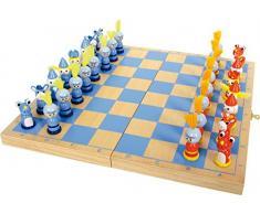 6084 Scacchi Cavaliere small foot in legno, gioco da viaggio con 32 scacchi in stile cavalleresco in legno, dai 6 anni in poi