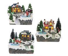 Edelman Citta con Bambini 3Ass con Luci Natale Decorazioni E Oggettistica, Multicolore, 8718861249880