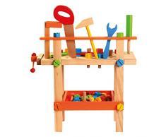 Bino-Un Tavolo da Lavoro con Attrezzi per Bambini, Multicolore, 82149