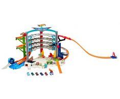 Hot Wheels Mega Garage Enorme Playset per Macchinine con Grande varietà di Funzioni, Include Cinque Veicoli e Un Elicottero, Gioco per Bambini di 4 + Anni, CMP80