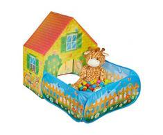 Relaxdays Tenda Giocattolo Pop Up, Casetta Quadrata, Bambini & Bambine, a 3 Anni di età, HLP: 110x90x146 cm, Gialla, Colore, 10028885