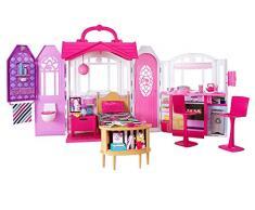 Barbie- Casa Vacanze Glam, Richiudibile, con Cucina, Camera da Letto, Bagno e Tanti Accessori, CHF54
