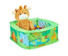 Relaxdays Piscina di Palline Pop Up, Box in Stoffa con 50 Palle Colorate, Vaschetta per Bambini, HLP 29x80x80 cm, Verde, Colore, 10028881