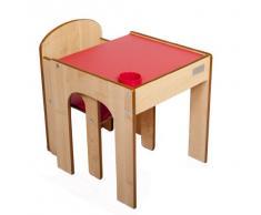 Little Helper - Set Tavolo con Sedia FunStation Originale e Porta Penne/Pennelli, per Bambini ai Primi Passi, in Legno, Rosso