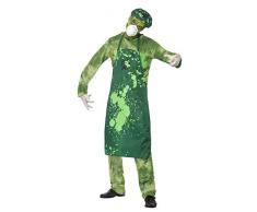 SMIFFYS Costume Uomo Rischio Biologico, Verde, comprende Pantaloni, Top, Grembiule, Capp