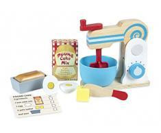 Melissa & Doug Set di giocattoli in legno per giocare a preparare una torta (11 pezzi), con mixer – Accessori da cucina giocattolo