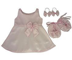 Costruisci il tuo orsi armadio da pollici vestiti adatti a costruire orso satin Abito fiocchi scarpe (rosa)