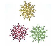 Gifts 4 All Occasions Limited Shatchi - Decorazioni per albero di Natale a forma di fiocco di neve, 3 pezzi, multicolore