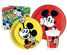 Kit Party Tavola Mickey Super Cool 90° compleanno per 8 persone (44 pezzi: 8 piatti carta Ø23cm, 8 piatti carta Ø20cm, 8 bicchieri plastica 200ml, 20 tovaglioli carta 33x33cm)