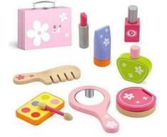 Top Race Set di cosmetici per bambini da 9 pezzi, pezzi di legno con custodia, kit di bellezza per bambini fingere giochi di ruolo, set di giochi di trucco di bellezza TR-W500