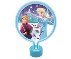 LEXIBOOK- Lampada Neon Disney Frozen con Anna, Elsa e Olaf, Notturna ghiacciata per Camera da Letto, Luce Decorativa di Tendenza per Ragazze, Colore Blu