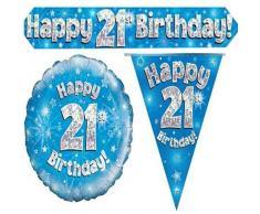 Oaktree bpwfa-4130 Felice ° compleanno decorazione olografico party set, blu
