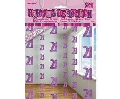 Unique Party 55323 - 1.5 m Decorazioni da Appendere per 21° Compleanno Rosa Brillante, Confezione da 6