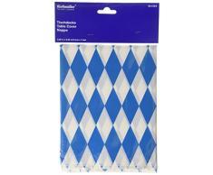 Amscan International - Tovaglia di plastica per feste in stile bavarese, 2,6 m x 80 cm (Blu/bianco)