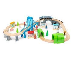 Small Foot-11492 Ferrovia Costruzione, Legno, con Ponte sospeso e gallerie, Mondo di Gioco su Due Livelli Giocattoli, Multicolore, 11492