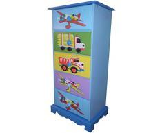 Liberty House Toys - Armadio a 5 cassetti, motivo: giocattoli di mezzi di trasporto