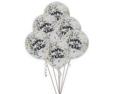 Unique Party 62568 Palloncini coriandoli per Capodanno, 30,5 cm, confezione da 6, nero/oro