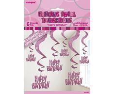 Unique Party 55420 66 cm Stelle Filanti Pendenti Decorazioni per Compleanno, Confezione da 6, Rosa Brillante